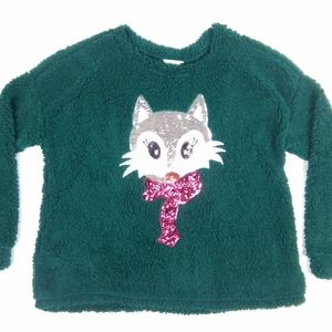 Time and Tru Green Fluffy Sequin Cat Sweater Sz XL